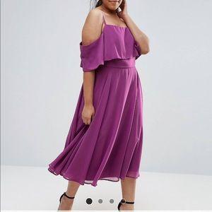 ASOS Curve MIDI cold shoulder dress.